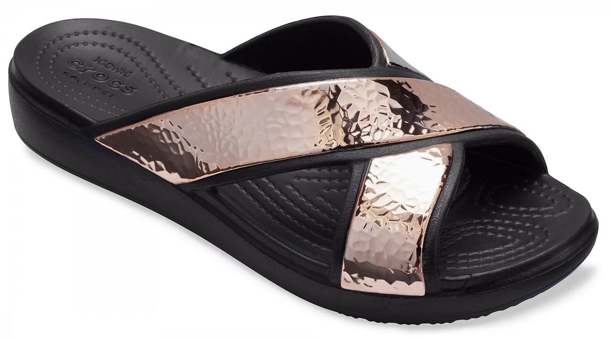 b1f42f6a247 Dámské pantofle Crocs Sloane Hammered Xstrp Slide - Black Rose Gold ...