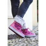 Sněhule Crocs Lodge Point Lace Boot Nylon Pomegranate - na noze (lefestyle) [2]