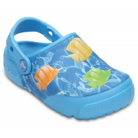 Dětské pantofle (nazouváky) Crocs Fun Lab Lights Fish, Electric Blue [1]