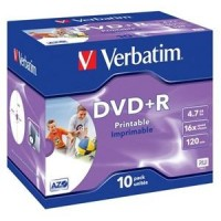 Médium Verbatim DVD+R 4,7GB 16x Printable jewel