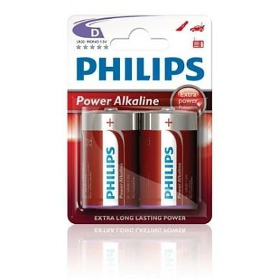 Alkalické baterie Philips PowerLife D 1.5V, 2ks