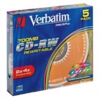 Verbatim DataLife PLUS, 700 MB, CD-RW, Color, slim box, 43133, 2-4x, 5-pack, pro archivaci dat