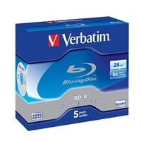 VERBATIM BD-R SL(5-pack)Blu-Ray/Jewel/6x/25GB