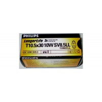 12V 10W SV8,5 T10,5x30 Long Life Philips(balení - 10ks)