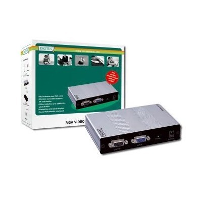 DIGITUS VGA Video Extender and Splitter over Cat5 local, 2remote up to 180 m (CAT5, UTP) resolution 1280X1024 at 60Hz