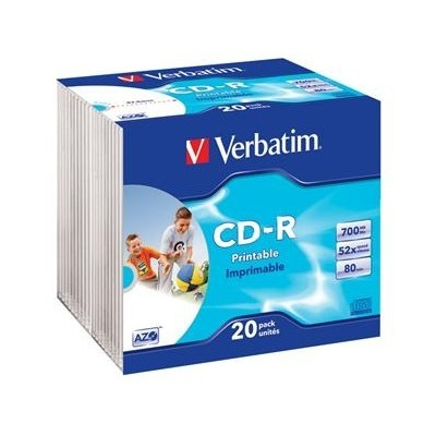 VERBATIM CD-R 80 52x PRINT. slim 20pc/BAL EOL