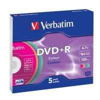 VERBATIM DVD+R 4,7GB 16x COLOR slim 5p/BAL