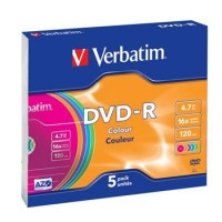 VERBATIM DVD-R 4,7GB 16x COLOR slim 5p/BAL