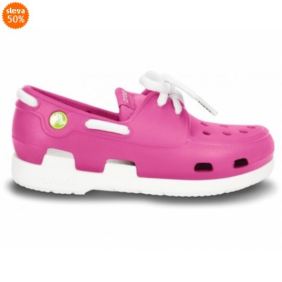 Crocs Beach Line Lace Boat Shoe Kids Fuchsia/White, C11 (28-29)