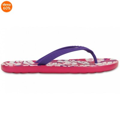 Crocs Chawaii Tropical Print Flip - Ultraviolet/Candy Pink, M7/W9 (39-40)