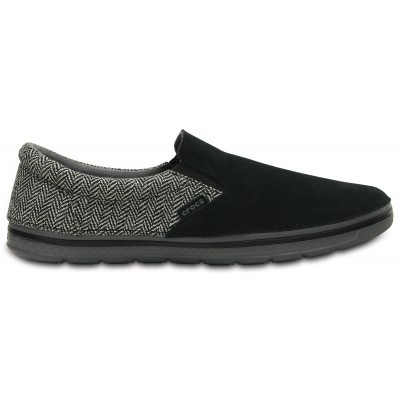 Crocs Men's Norlin Herringbone Slip-on - Black, M10/W12 (43-44)