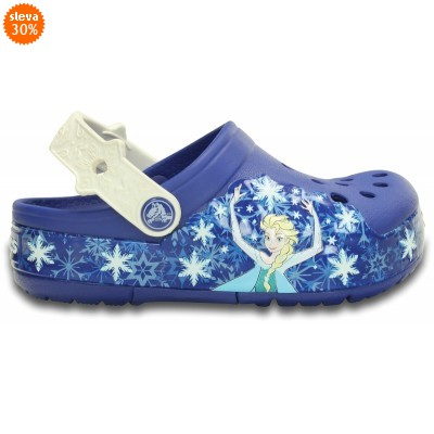 Crocs Lights Frozen Clog - Cerulean Blue/Oyster, J1 (32-33)