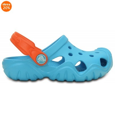 Crocs Swiftwater Clog Kids Electric Blue/Tangerine, C13 (30-31)