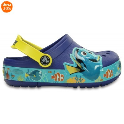 Crocs Lights Finding Dory Clog - Cerulean Blue / Lemon, C11 (28-29)