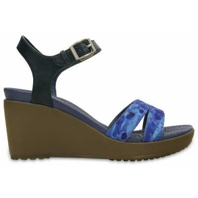Crocs Leigh II Ankle Strap Graphic Wedge - Nautical Navy/Walnut, W8 (38-39)