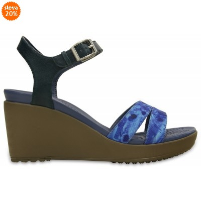 Crocs Leigh II Ankle Strap Graphic Wedge Nautical Navy/Walnut, W8 (38-39)