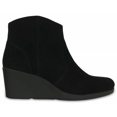 Crocs Leigh Suede Wedge Bootie - Black, W8 (38-39)