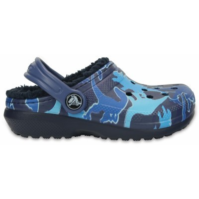 Crocs Classic Lined Graphic Clog Kids - Blue Camo, C11 (28-29)