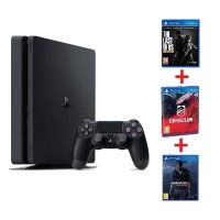 PS4 - Playstation 4 1TB Slim - GAMER Pack - 3 hry: (Uncharted 4, DriveClub, The Last of Us)
