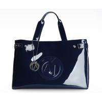 Armani Jeans Shopping Bag With Charms, modrá
