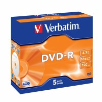 DVD-R Verbatim 4,7 GB (120min) 16x Silver jewel box, 5ks/pack