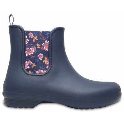 Crocs Freesail Chelsea Boot Women - Navy/Floral, W9 (39-40)
