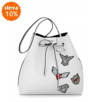 Guess Bobbi Reversible Bucket Bag With Embroidery 3v1 s výšivkami, bílo-černá