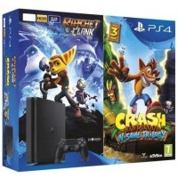 PS4 -  PlayStation 4 černý 500GB + 2 hry: Crash Bandicoot + Ratchet&Clank