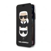 Pouzdro na iPhone XS Max Karl Lagerfeld Karl and Choupette Book Black