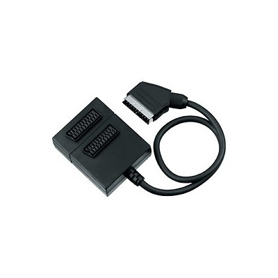 Adapter SCART-2xSCART F, kabel 0,5m