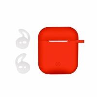 b2d56eaf229 Pouzdro na Apple Airpods CELLY Aircase + sportovní nástavce do uší - červená