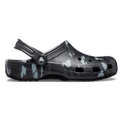 Pánské nazouváky (pantofle) v černé armádní kamufláži Crocs Classic Seasonal Graphic