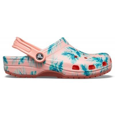 Dámské nazouváky (pantofle) s potiskem palem Crocs Classic Seasonal Graphic Clog Tropical