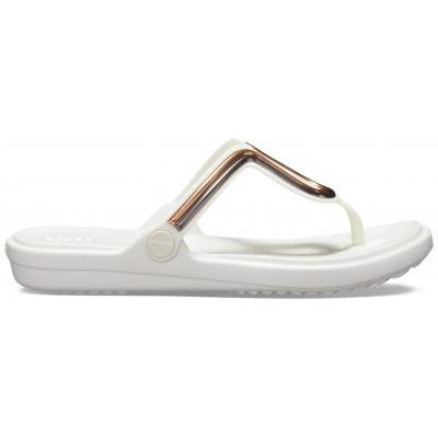 Dámské žabky Crocs Sanrah MetalBlock Flat Flip
