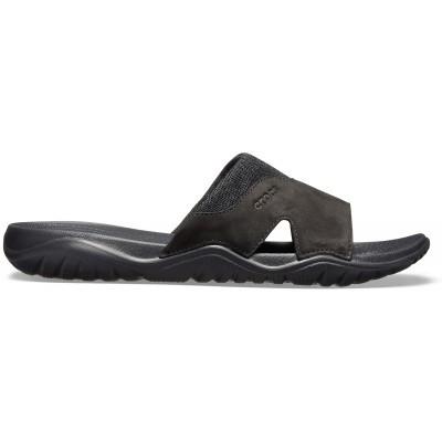 Pánské nazouváky (pantofle) s kůží Crocs Swiftwater Leather Slide