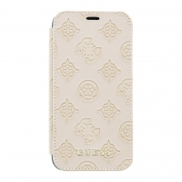 GUFLPXPELLP Guess Debossed Peony Book Pouzdro pro iPhone X/XS Latte (EU Blister)