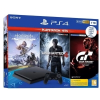PS4 - PlayStation 4 černý 1TB - F Chasiss (slim) + GTS+U4+HZD