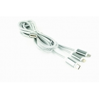 GEMBIRD USB 3-in-1 charging cable, silver, 1 m