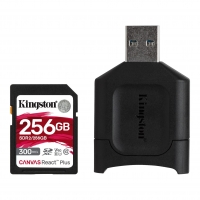 256GB SDHC Kingston Canvas React Plus  UHS-II V90 + čtečka