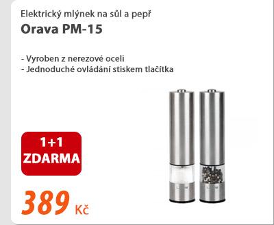 Elektrický mlýnek na sůl a pepř Orava PM-15 1+1 ZDARMA