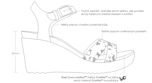 Nákres bot na klínku Crocs Leigh II Ankle Strap Graphic Wedge