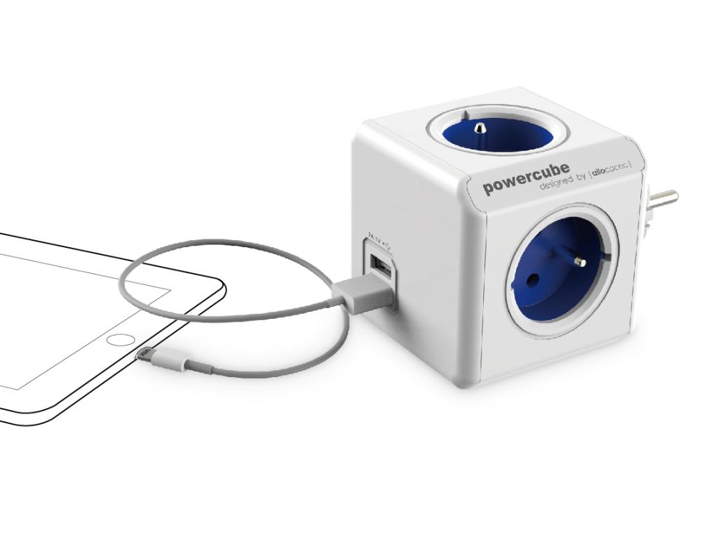 Rozbočovač elektrického proudu PowerCube Original včetně 2 USB portů