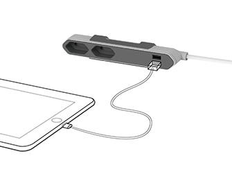 Rozbočovač elektrického proudu PowerCube Powerbar s USB výstupy pro nabíjení