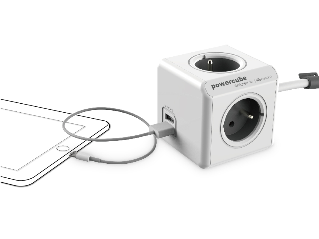 Rozbočovač elektrického proudu PowerCube Extended USB s 2 USB výstupy