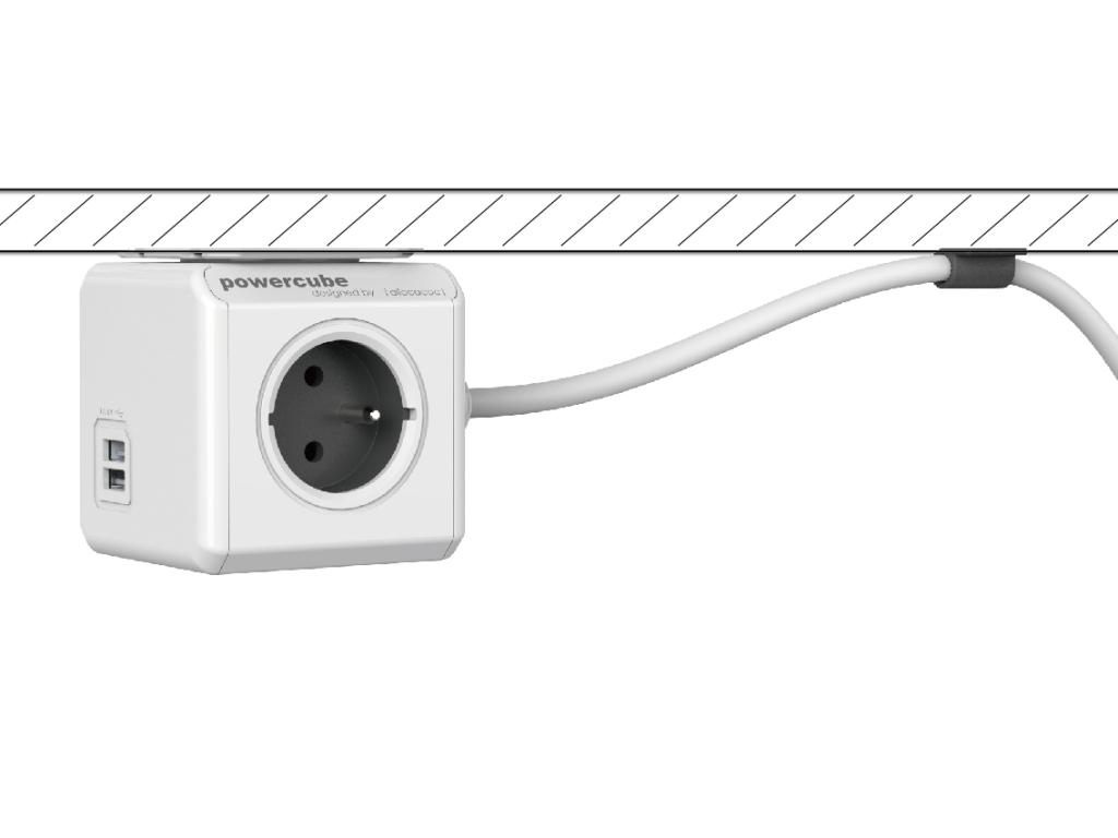 Rozbočovač elektrického proudu PowerCube Extended s jednoduchou fixací kabelu