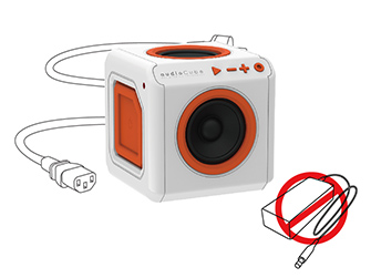 Bezdrátový Bluetooth reproduktor PowerCube audioCube Portable se zabudovaným napájecím adaptérem