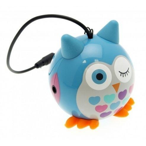 Přenosný reproduktor KitSound Mini Buddy Owl Blue s dětským motivem modré sovičky