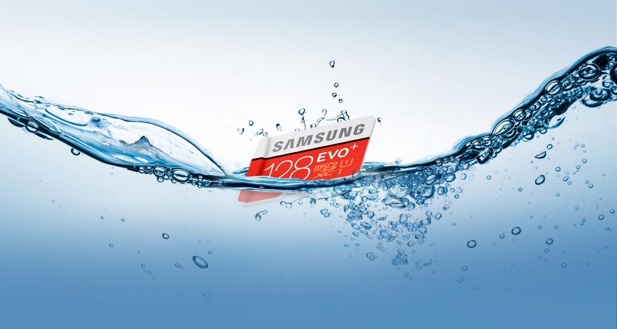 MicroSDXC Samsung EVO Plus odolná vůči vodě