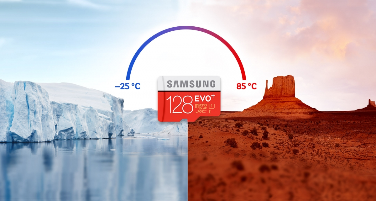 MicroSDXC Samsung EVO Plus teplu i mrazu odolná
