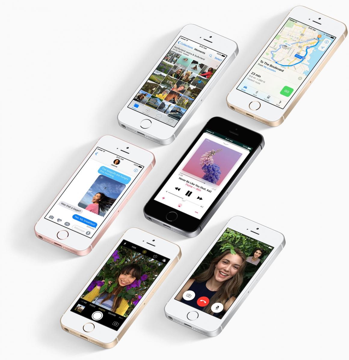 Mobilní telefon Apple iPhone SE s vylazeným systémem iOS 10